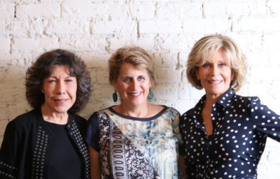 Lily Tomlin, Jazzwomen Advocates President Sara Sanderson and Jane Fonda Campaigning for Ballot Initiative for One Fair Wage in Ann Arbor, Michigan, 2017